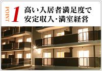 高い入居者満足度で安定収入・満室経営